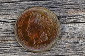 image of indian currency  - Close up shot of Indian Head Cent uncirculated condition on aged wood - JPG