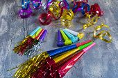 stock photo of blowers  - Item for party colorful serpentine and blowers - JPG