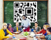 stock photo of qr-code  - QR Code Identity Marketing Data Encryption Concept - JPG