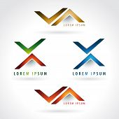 image of letter x  - Letter X and arrow shaped logo icon design template elements - JPG
