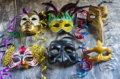foto of carnival rio  - Group carnival masks from different cities such as Venice Naples or Rio de janeiro - JPG