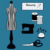 stock photo of tailoring  - Do it yourself sewing and tailoring tools - JPG