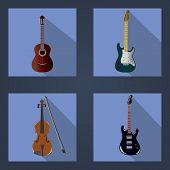 stock photo of violin  - vector illustration of three guitars and violins - JPG