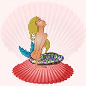 image of undine  - Mermaid with blond hair sitting on seashell vector illustration - JPG