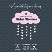 pic of girl toy  - Baby girl invitation for baby shower vector format - JPG