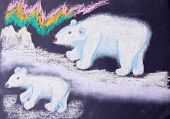picture of north-pole  - pastel child picture of white bears on the north pole - JPG