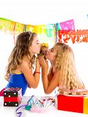 foto of dog birthday  - girl friends party kissing puppy chihuahua present dog in birthday - JPG
