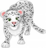 stock photo of snow-leopard  - Cartoon cute snow leopard without background isolated - JPG