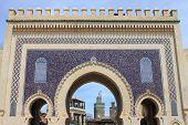 stock photo of gate  - Bab Bou Jeloud gate  - JPG