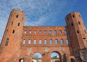 picture of turin  - Palatine towers Porte Palatine ruins of ancient roman town gates in Turin - JPG