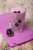 picture of smoothies  - Smoothies of blackberry and black currant with yogurt  - JPG