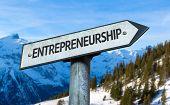 foto of entrepreneurship  - Entrepreneurship sign with winter background - JPG