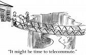 image of telecommuting  - Cartoon of a businesswoman who has an extremely long commute and husband says to her it might be time to telecommute - JPG