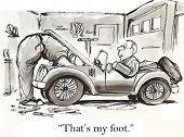 pic of overhauling  - Cartoon of a mechanic attempting to fix a broken sport car - JPG