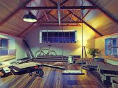 picture of attic  - old attic interior with swing - JPG