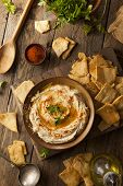 pic of pita  - Healthy Homemade Creamy Hummus with Olive Oil and Pita Chips - JPG