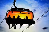 picture of ropeway  - Orange ropeway in High Tatras mountains - JPG