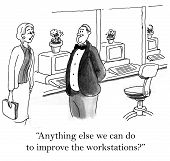 image of workstation  - Cartoon of businesswoman asking man if there is anything else they can do to improve the workstations - JPG