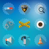 foto of fingerprint  - Illustration of Police Sequrity Flat Vector Icon Set - JPG