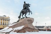 stock photo of great horse  - Monument of Russian emperor Peter the Great known as The Bronze Horseman - JPG