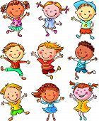 image of joy  - Nine happy kids dancing or jumping with joy - JPG