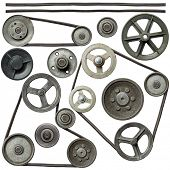 pic of pulley  - Old metal pulleys with belt - JPG