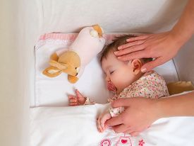 picture of pacifier  - Closeup of mother caressing her cute baby girl sleeping in a cot with pacifier and stuffed toy - JPG