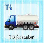 stock photo of letter t  - Flashcard letter T is for tanker - JPG