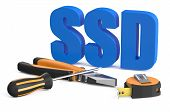 picture of benchmarking  - SSD service and repair concept isolated on white background - JPG