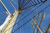 stock photo of mast  - Masts close up on a sailboat Kruzenshtern - JPG