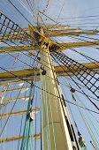 foto of mast  - Ropes on the mast of a sailboat Kruzenshtern - JPG