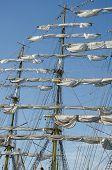 picture of mast  - Sails on the masts on a sailboat Kruzenshtern - JPG