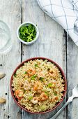 picture of quinoa  - quinoa with shrimp and parsley on a white wood background - JPG