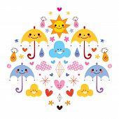 stock photo of raindrops  - cute umbrellas raindrops flowers clouds characters vector illustration - JPG