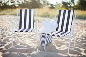 picture of beach hat  - furniture and summer holidays concept  - JPG