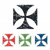picture of maltese  - Colored grunge icon set with image of maltese cross - JPG