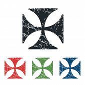 stock photo of maltese-cross  - Colored grunge icon set with image of maltese cross - JPG