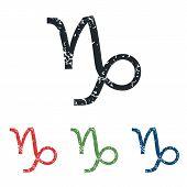 picture of capricorn  - Colored grunge icon set with capricorn zodiac symbol - JPG
