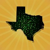 picture of texas map  - Texas sunburst map with hex code illustration - JPG
