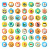 stock photo of citizenship  - Set of modern flat round vector icons of school subjects activities education and science symbols in colorful circles with long shadows - JPG