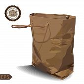 stock photo of paper craft  - Craft Paper Shopping Bag on a white background - JPG