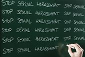 image of punishment  - stop sexual harassment sentence written repeatedly on blackboard as a punishment - JPG