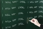 picture of punishment  - I will not steal sentence written repeatedly on blackboard as a punishment - JPG