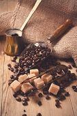 picture of sugar cube  - The ingredients and utensils for making coffee - JPG