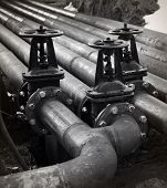 stock photo of valves  - Oil gas pipe line and valves - JPG