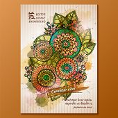 image of sharpie  - Vector template poster with watercolor paint and ink floral abstract background - JPG