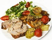 image of roasted pork  - Roasted pork roulade with potatoes - JPG
