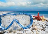foto of sky diving  - diving mask and shells under a cloudy sky - JPG
