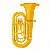 image of wind instrument  - vector color flat design tuba wind instrument vector illustration white background - JPG