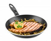 pic of salmon steak  - Frying pan with salmon steak - JPG